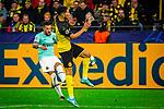 05.11.2019, Signal Iduna Park, Dortmund , GER, Champions League, Gruppenphase, Borussia Dortmund vs Inter Mailand, UEFA REGULATIONS PROHIBIT ANY USE OF PHOTOGRAPHS AS IMAGE SEQUENCES AND/OR QUASI-VIDEO<br /> <br /> im Bild | picture shows:<br /> Achraf Hakimi (Borussia Dortmund #5) blockt den Schuss, <br /> <br /> Foto © nordphoto / Rauch
