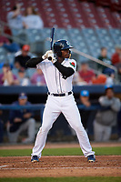 Connecticut Tigers second baseman Jeremiah Burks (28) at bat during a game against the Hudson Valley Renegades on August 20, 2018 at Dodd Stadium in Norwich, Connecticut.  Hudson Valley defeated Connecticut 3-1.  (Mike Janes/Four Seam Images)