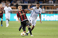 San Jose, CA - Wednesday September 19, 2018: Miguel Almirón, Anibal Godoy during a Major League Soccer (MLS) match between the San Jose Earthquakes and Atlanta United FC at Avaya Stadium.