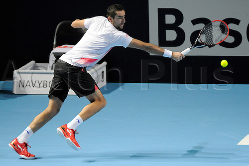 28.10.2015. Basel, Switzerland. Basel Swiss Indoor Tennis Championships. Day Four. Marin Cilic in action in the match between Marin Cilic of Croatia and Marco Chiudinelli of Switzerland