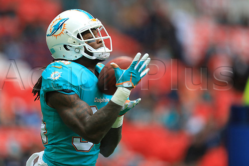1st October 2017, Wembley Stadium, London, England; NFL International Series, Game Two; Miami Dolphins versus New Orleans Saints; Senorise Perry of the Miami Dolphins in catching practice