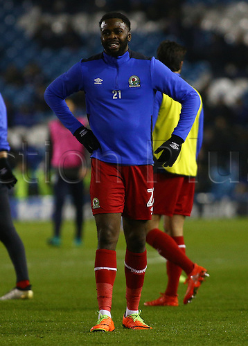 February 14th 2017, Hillsborough, Sheffield, Yorkshire, England; Skybet Championship football, Sheffield Wednesday versus Blackburn; Blackburn's Hope Akpan warms up before the game