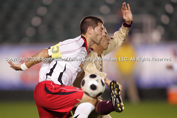 14 November 2008: Maryland's Rich Costanzo (left) and Boston College's Alejandro Bedoya (right). The University of Maryland defeated Boston College 1-0 at WakeMed Stadium at WakeMed Soccer Park in Cary, NC in a men's ACC tournament semifinal game.