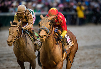 LOUISVILLE, KY - MAY 05: Abel Tasman #13 with Mike Smith aboard, defeats Daddy's Lil Darling #12 with Julien Leparoux, win the Kentucky Oaks at Churchill Downs on May 5, 2017 in Louisville, Kentucky. (Photo by Alex Evers/Eclipse Sportswire/Getty Images)