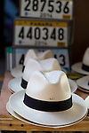 Panama hats for sale in the historic district of Panama City, Panama, Central America