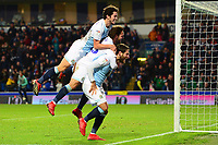 Blackburn Rovers' Bradley Dack celebrates scoring his side's second goal with his team-mates Danny Graham and Lewis Travis (L)<br /> <br /> Photographer Richard Martin-Roberts/CameraSport<br /> <br /> The EFL Sky Bet Championship - Blackburn Rovers v West Bromwich Albion - Tuesday 1st January 2019 - Ewood Park - Blackburn<br /> <br /> World Copyright &not;&copy; 2019 CameraSport. All rights reserved. 43 Linden Ave. Countesthorpe. Leicester. England. LE8 5PG - Tel: +44 (0) 116 277 4147 - admin@camerasport.com - www.camerasport.com