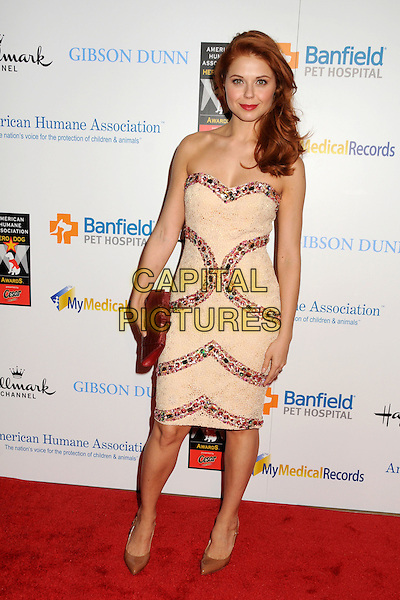 Anna Trebunskaya.1st Annual American Hero Dog Awards Presented By Cesar Canine Cuisine held at The Beverly Hilton Hotel, Beverly Hills, California, USA, 1st October 2011..full length  strapless beige nude dress red beaded trim dress clutch bag  shoes .CAP/ADM/BP.©Byron Purvis/AdMedia/Capital Pictures.