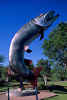"""Husky the Muskie"" Statue, Roadside Attraction at McLeod Park, Lake of the Woods, Kenora, ON, Ontario, Canada"