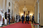 U.S. President Barack Obama (R) escorts Nortic leaders Finland President Sauli Niinisto, Iceland Prime Minister Sigurdur Ingi Johannsson, Denmark Prime Minister Lars Lokke Rasmussen, Sweden Prime Minister Stefan Lofven and Norway Prime Minister Erna Solberg in in the Cross Hall during official welcoming ceremonies at the White House in Washington, D.C. on May 13, 2016.    <br /> Credit: Pat Benic / Pool via CNP