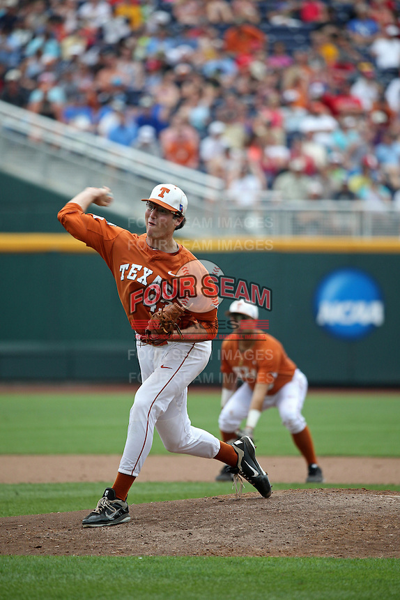 John Curtiss #43 of the Texas Longhorns pitches during Game 1 of the 2014 Men's College World Series between the UC Irvine Anteaters and Texas Longhorns at TD Ameritrade Park on June 14, 2014 in Omaha, Nebraska. (Brace Hemmelgarn/Four Seam Images)