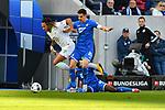 15.02.2020, PreZero-Arena, Sinsheim, GER, 1. FBL, TSG 1899 Hoffenheim vs. VFL Wolfsburg, <br /> <br /> DFL REGULATIONS PROHIBIT ANY USE OF PHOTOGRAPHS AS IMAGE SEQUENCES AND/OR QUASI-VIDEO.<br /> <br /> im Bild: Kevin Mbabu (VFL Wolfsburg #19) gegen Benjamin Huebner (TSG Hoffenheim #21)<br /> <br /> Foto © nordphoto / Fabisch