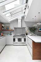 The contemporary kitchen extension, lit from above by skylights