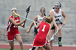 San Diego, CA 05/21/11 - Sydney Swanson (Coronado #8), Carissa Fisher (Cathedral Catholic #1) and unidentified Cathedral Catholic player in action during the 2011 CIF San Diego Division 2 Girls lacrosse finals between Cathedral Catholic and Coronado.