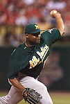 June 18, 2010       Oakland Athletics relief pitcher Cedrick Bowers (57) pitches in the last inning.  The St. Louis Cardinals defeated the Oakland Athletics 6-4 in the first game of a three-game homestand at Busch Stadium in downtown St. Louis, MO on Friday June 18, 2010.