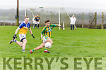 Aaron Moriarty, Lispole, looks to get to the ball ahead of Philip Leahy, Ballyhooly, during their sides clash in the Munster Junior B club football final in Knockaderry