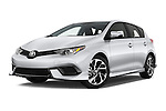 Stock pictures of low aggressive front three quarter view of 2017 Toyota Corolla-iM CVT-Automatic 5 Door Hatchback Low Aggressive