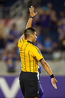 Orlando, FL - Saturday July 16, 2016: Victor Rivas, referee during a regular season National Women's Soccer League (NWSL) match between the Orlando Pride and the Chicago Red Stars at Camping World Stadium.