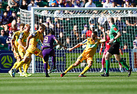 3rd November 2019; HBF Park, Perth, Western Australia, Australia; A League Football, Perth Glory versus Central Coast Mariners; Bruno Fornaroli of the Perth Glory has a shot on goal past the Mariners defense - Editorial Use