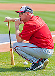 20 March 2015: Washington Nationals Manager Matt Williams watches his players take batting practice prior to a Spring Training game against the Houston Astros at Osceola County Stadium in Kissimmee, Florida. The Nationals defeated the Astros 7-5 in Grapefruit League play. Mandatory Credit: Ed Wolfstein Photo *** RAW (NEF) Image File Available ***