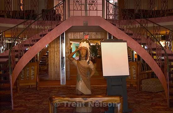 Casper - wooden indian in the hotel. Trip to the Wyoming Press Association's Winter Convention; 01.18.2004<br />