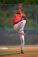 GCL Phillies East pitcher Gabriel Cotto (54) during a Gulf Coast League game against the GCL Yankees East on July 31, 2019 at Yankees Minor League Complex in Tampa, Florida.  GCL Yankees East defeated the GCL Phillies East 11-0 in the first game of a doubleheader.  (Mike Janes/Four Seam Images)