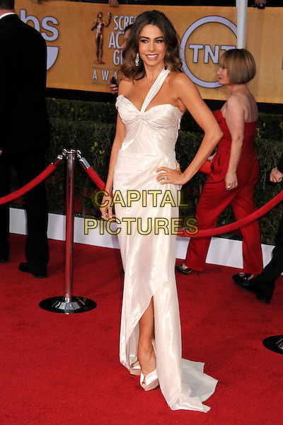 Sofia Vergara (wearing Donna Karan Atelier).Arrivals at the 19th Annual Screen Actors Guild Awards at the Shrine Auditorium in Los Angeles, California, USA..27th January 2013.SAG SAGs full length white hand on hip silk satin one strap off the shoulder .CAP/ADM/BP.©Byron Purvis/AdMedia/Capital Pictures