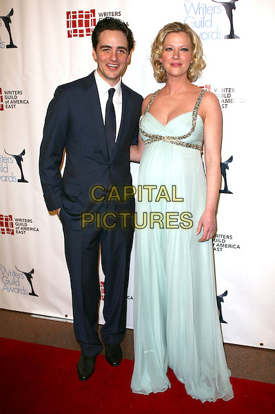 VINCENT PIAZZA & GRETCHEN MOL .The 63rd annual Writers Guild Awards at the AXA Equitable Center on February 5, 2011 in New York, New York, NY, USA, 5th February 2011..full length pale blue green dress long maxi silk chiffon pregnant maternity suit tie .CAP/ADM/PZ.©Paul Zimmerman/AdMedia/Capital Pictures.