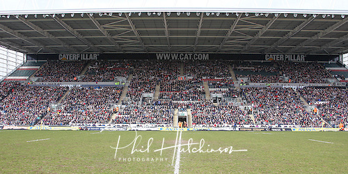 21.04.2013 Rugby Union, Leicester, England.  A nearly full Catepillar Stand during the Charity match between a Tigers Legends XV and an International Legends XV, from Welford Road.  Match proceeds are going to the Louis Deacon Benefit and the Matt Hampson Foundation. Attendance 16500