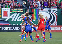 Portland, OR - Saturday May 06, 2017: Amandine Henry, Lindsey Horan during a regular season National Women's Soccer League (NWSL) match between the Portland Thorns FC and the Chicago Red Stars at Providence Park.