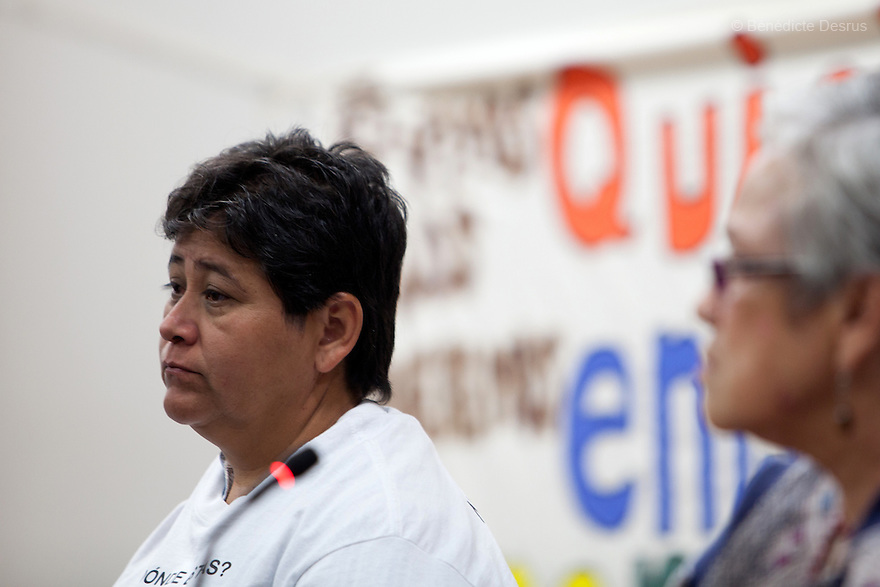 Blanca Luz Nava Vélez, mother of Jorge Álvarez Nava, one of the 43 missing students from Ayotzinapa's teacher training college during a press conference at the University Center for Social Sciences and Humanities in Guadalajara, Jalisco, Mexico on November 18, 2014. The parents and relatives of the 43 missing students still do not believe the official line that the young men are all dead, and with classmates, social organizations and human rights defenders, they started on Thursday a national caravan. They split up into three different caravans, branching out to share information face to face with supporters in other cities and rally nationwide support. The three groups will meet in Mexico City on Thursday 20 for a general strike and massive marches to demand justice and fight against corrupted government and organized crime. Criticism of the government has intensified in Mexico, and many are demanding that the search for the 43 missing students continue until there is concrete evidence to the contrary. (Photo by Bénédicte Desrus)