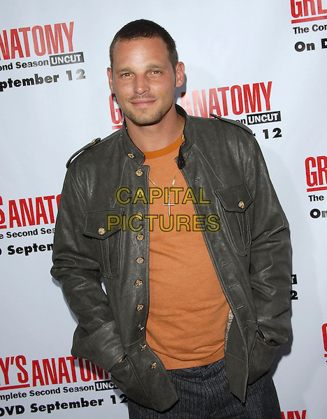 JUSTIN CHAMBERS.The Grey's Anatomy 2nd Season DVD Launch held at Social in Hollywood, California, USA..September 5th, 2006.Ref: DVS.half length grey gray leather jacket cross orange hands in pockets.www.capitalpictures.com.sales@capitalpictures.com.©Debbie VanStory/Capital Pictures