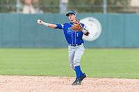 Team Italy second baseman Ricardo Paolini (1) throws to first base during an exhibition game against the Oakland Athletics at Lew Wolff Training Complex on October 3, 2018 in Mesa, Arizona. (Zachary Lucy/Four Seam Images)