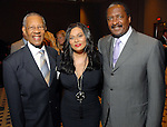 The Rev. Bill Lawson with Tina and Mathew Knowles at the City of Houston's Birthday Bash at the George R. Brown Convention Center Tuesday Aug. 19,2008.(Dave Rossman/For the Chronicle)