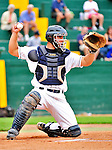25 July 2010: Vermont Lake Monsters catcher David Freitas in action against the Tri-City ValleyCats at Centennial Field in Burlington, Vermont. The ValleyCats came from behind to defeat the Lake Monsters 10-8 in NY Penn League action. Mandatory Credit: Ed Wolfstein Photo