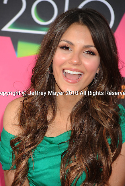 LOS ANGELES, CA. - March 27: Victoria Justice arrives at Nickelodeon's 23rd Annual Kid's Choice Awards at Pauley Pavilion on March 27, 2010 in Los Angeles, California.