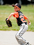 WATERBURY, CT-0712117JS10--Water-Oak's Brady Lombardo (23) throws to first for the out during their consolation bracket game against the Bonnie's of Brooklyn in the Roberto Clemente Tournament Thursday at the Waterbury PAL field. <br /> Jim Shannon Republican-American