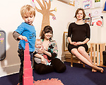 April 7, 2017. Durham, North Carolina.<br /> <br /> Nido owners Lis Tyroler, center, and Tiff Frye, right, with Tyroler's children Sebastian Tyroler Romine, left, and Desmond Romine Tyroler in the on site daycare center. <br /> <br /> Nido is a co-working space which also offers a Montessori preschool on site. Catering to working parents with morning and afternoon preschool shifts, Nido has thrived and is actively looking for a larger space. <br /> <br /> Jeremy M. Lange for The New York TImes