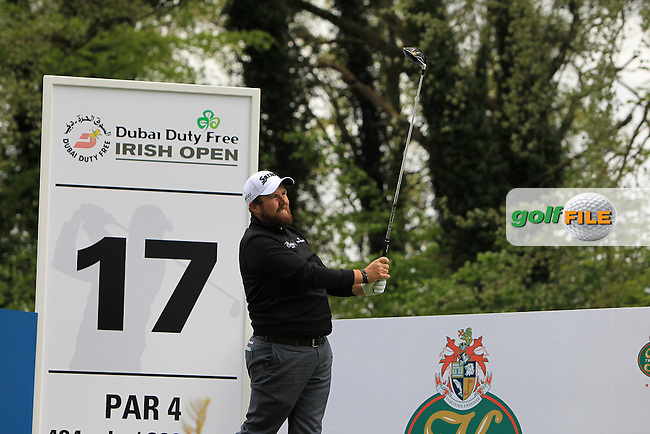 Shane Lowry (IRL) on the 17th tee during Wednesday's Pro-Am round of the Dubai Duty Free Irish Open presented  by the Rory Foundation at The K Club, Straffan, Co. Kildare<br /> Picture: Golffile | Thos Caffrey<br /> <br /> All photo usage must carry mandatory copyright credit <br /> (&copy; Golffile | Thos Caffrey)