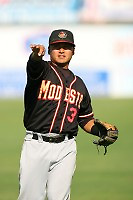 August 24 2008: James Guerrero of the Modesto Nuts before game against the Lancaster JetHawks at Clear Channel Stadium in Lancaster,CA.  Photo by Larry Goren/Four Seam Images