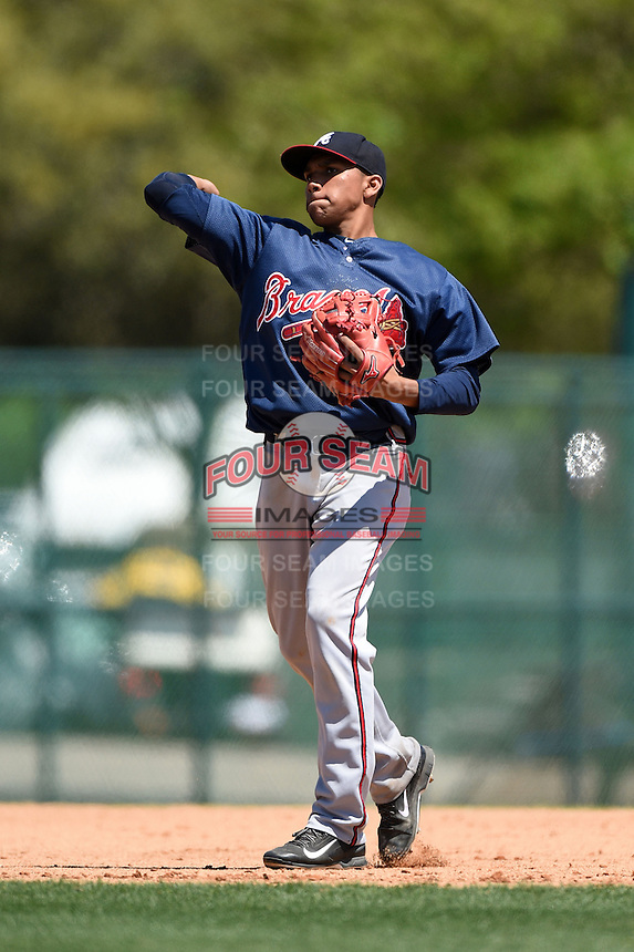 Atlanta Braves shortstop Johan Camargo (33) during a minor league spring training game against the Washington Nationals on March 26, 2014 at Wide World of Sports in Orlando, Florida.  (Mike Janes/Four Seam Images)