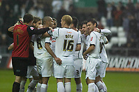 Pictured: Swansea City Players team huddle<br /> Re: Coca Cola Championship, Swansea City Football Club v  Wolverhampton Wanderers at the Liberty Stadium, Swansea, south Wales 2008.