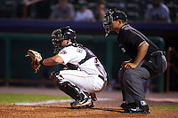 Tri-City ValleyCats catcher Anthony Hermelyn (7) and umpire Jose Matamoros during a game against the Brooklyn Cyclones on September 1, 2015 at Joseph L. Bruno Stadium in Troy, New York.  Tri-City defeated Brooklyn 5-4.  (Mike Janes/Four Seam Images)
