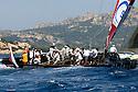 Louis Vuitton Trophy La Maddalena 28 maggio 2010. L'equipaggio di Synergy Russian Sailing Team impegnato in manovra durante una spettacolare regata tra i russi e gli statunitensi di BMW Oracle