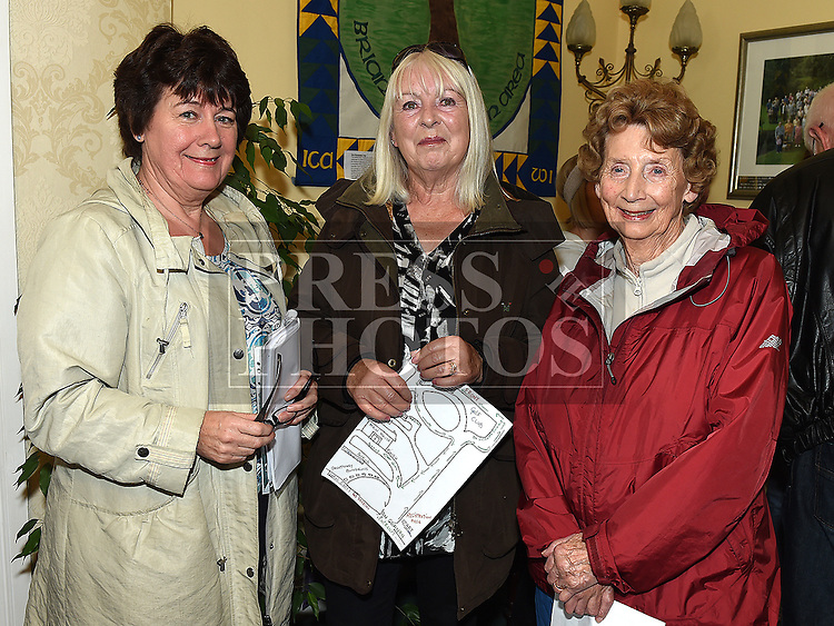 Eileen Pollock, Margaret Murphy and Margo Carthy who took part in the Alzheimers Charity walk at An Grianan.  Photo:Colin Bell/pressphotos.ie