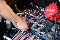 Oct. 5, 2012; Mohnton, PA, USA: Detailed view of the engine from the car of NHRA top alcohol funny car driver Cassie Simonton during qualifying for the Auto Plus Nationals at Maple Grove Raceway. Mandatory Credit: Mark J. Rebilas-