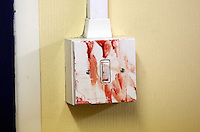 Pictured: A blood covered light switch, one of the many realistic props. Saturday 29 March 2014<br />
