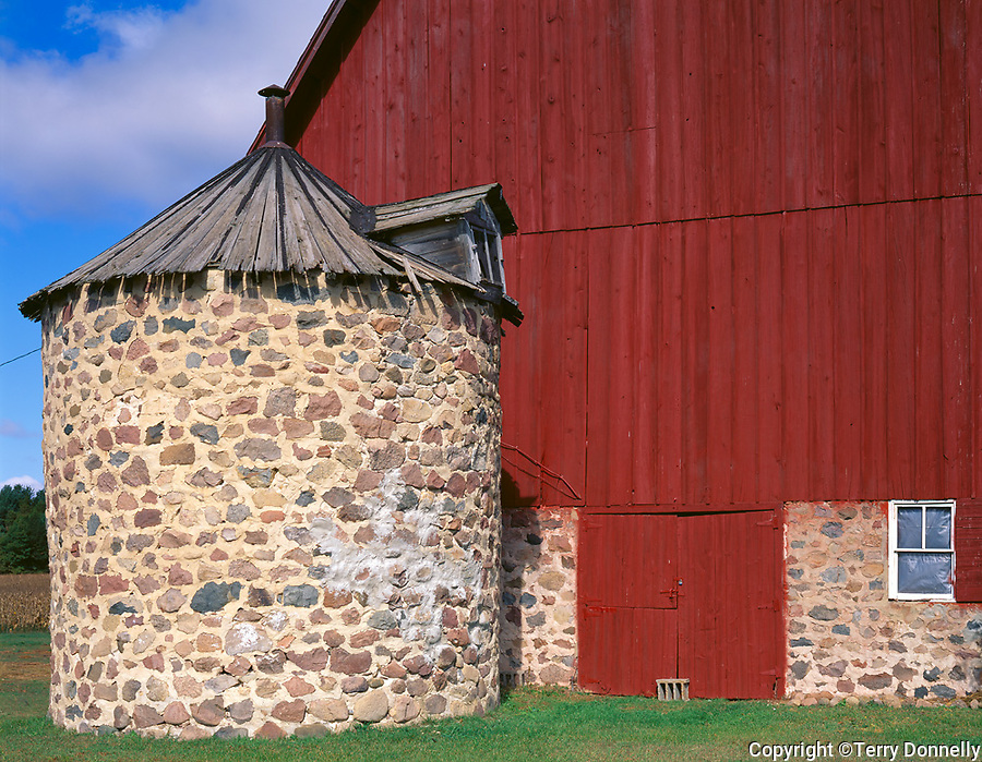 Portage County, WI<br /> Red barn with fieldstone silo