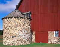 Portage County, WI<br /> Red barn with fieldstone silo