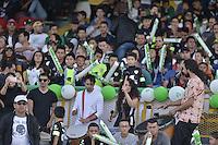 BOGOTÁ -COLOMBIA, 20-02-2016. Hinchas de La Equidad animan a su equipo durante el encuentro entre La Equidad e Independiente Medellín por la fecha 5 de la Liga Águila I 2016 jugado en el estadio Metropolitano de Techo de la ciudad de Bogotá./ Fans of La Equidad cheer for their team during the match between La Equidad and Independeiente Medellin for the date 5 of the Aguila League I 2016 played at Metropolitano de Techo stadium in Bogotá city. Photo: VizzorImage/ Gabriel Aponte / Staff