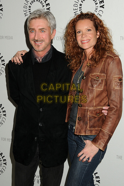 """LENNY VON DOHLEN & ROBYN LIVELY.""""Psych"""", A Twin Peaks Reunion Premiere Screening of a """"Twin Peaks"""" Inspired Episode of USA Network's """"Psych"""" held at the Paley Center, Beverly Hills, California, USA, .29th November 2010..half length black coat brown leather jacket .CAP/ADM/BP.©Byron Purvis/AdMedia/Capital Pictures."""